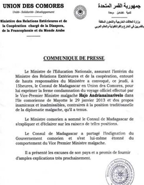 Comores: Protestation suites aux propos inamicaux d'un responsable malgache